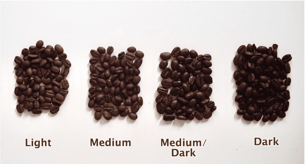 different coffee roast level